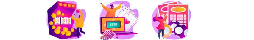 Slot machine, laptop gambling, scratchcards and bingo