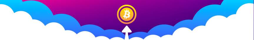 Bitcoin logo up in the clouds with an arrow pointing upwards