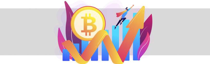 Bitcoin logo with a graph and a yellow arrow pointing upwards