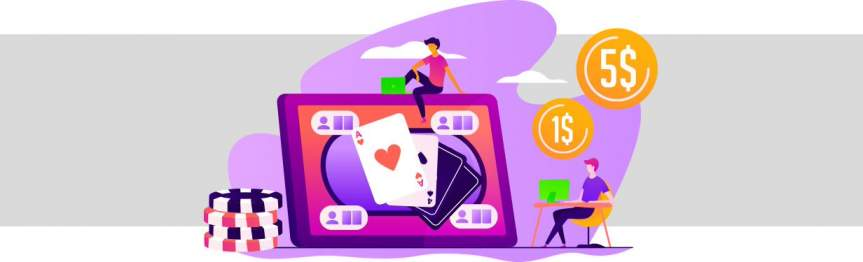Playing on moniters, with poker cards, chips and coins floating