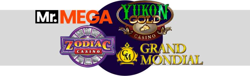 Mr mega, yukon gold, zodiac casino, grand mondial logos